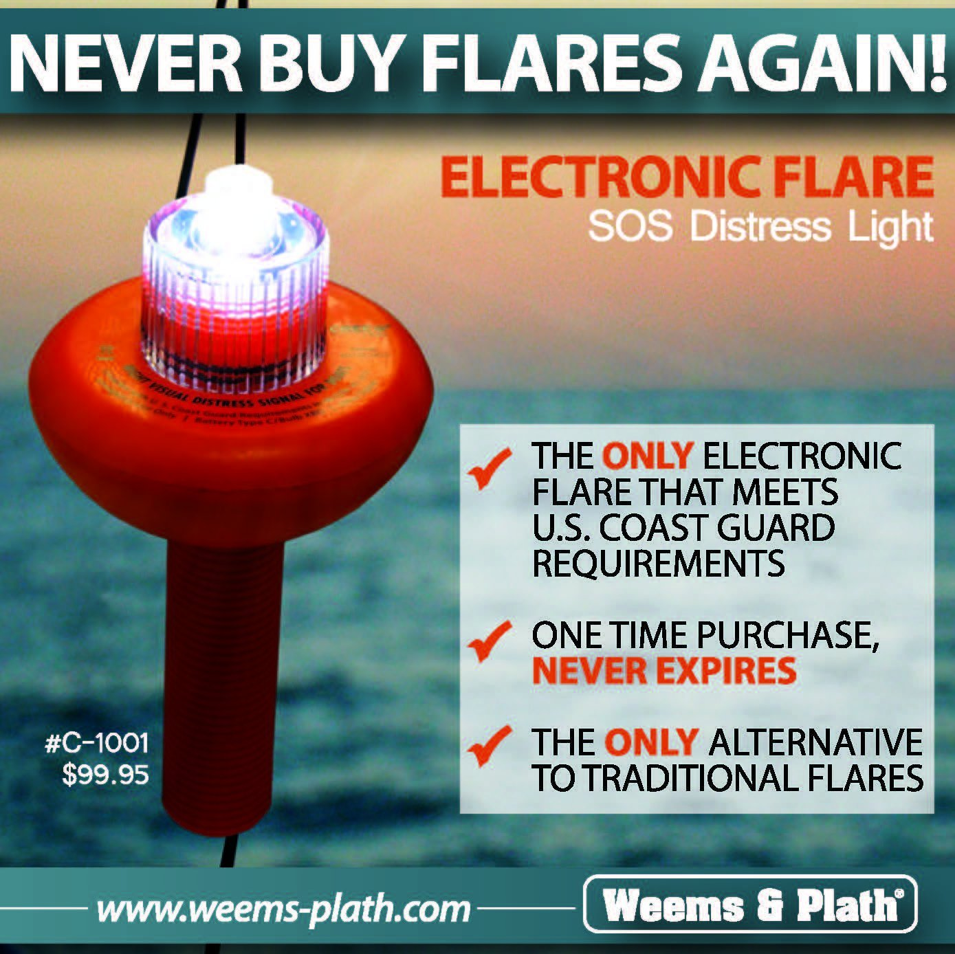 Weems Plath C 1001 Sos Distress Light With Day Signal Navigation Switching For Vessels Under 20 Meters Blue Sea Flag Automotive