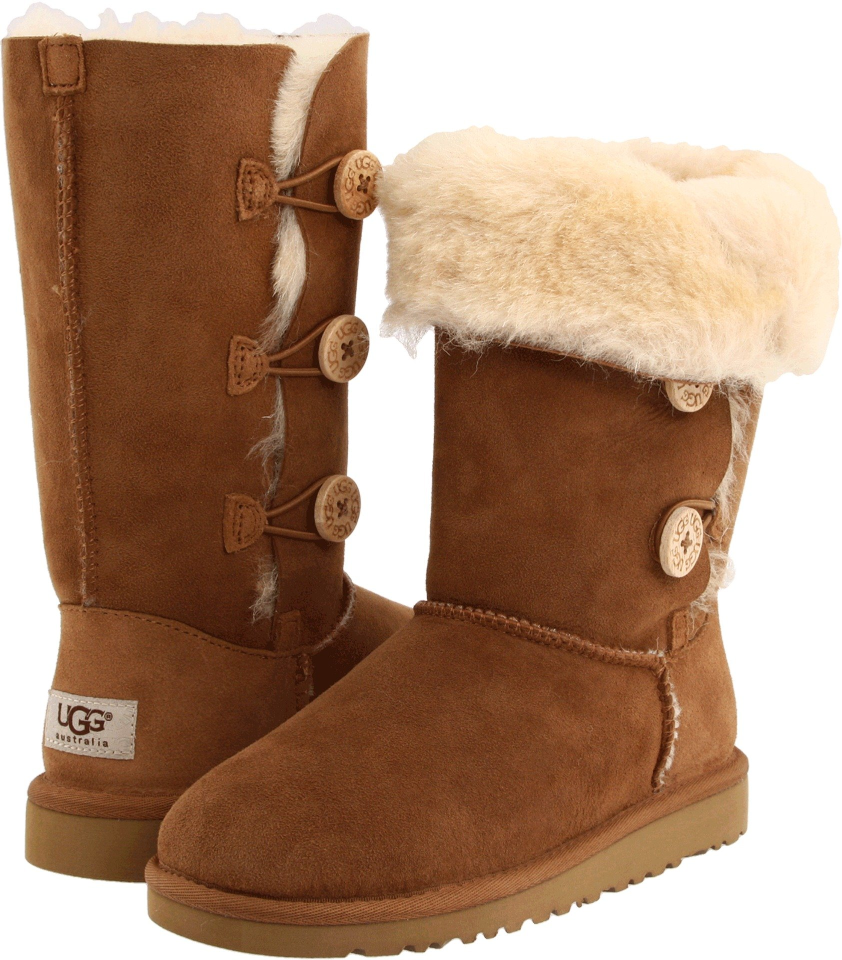 UGG Australia Girls' Bailey Button Triplet Sheepskin Fashion Boot Chestnut 6 M US
