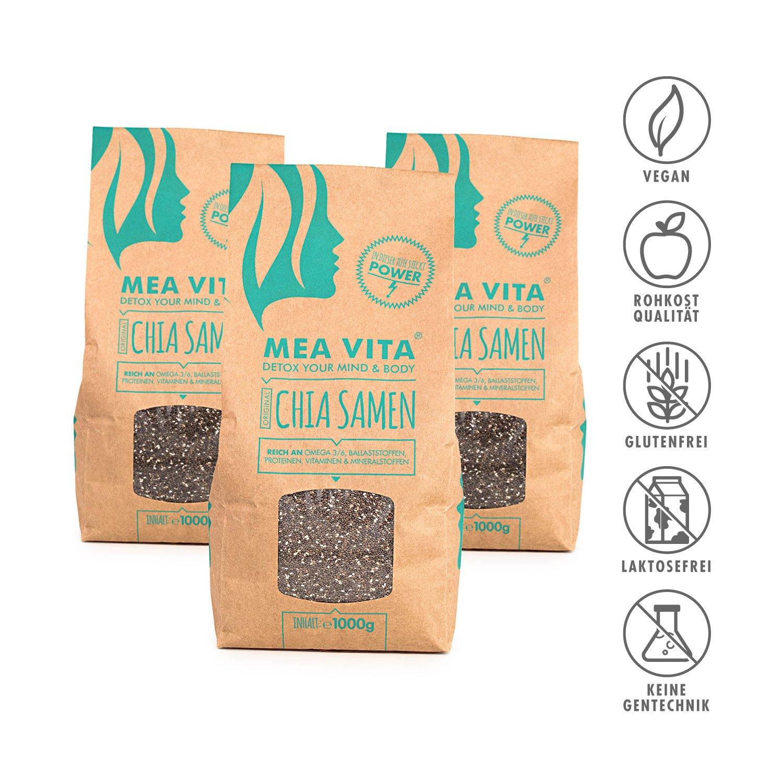 Las semillas de chía, MeaVita premium paquete 3er (3 x 1000 g): Amazon.es: Alimentación y bebidas