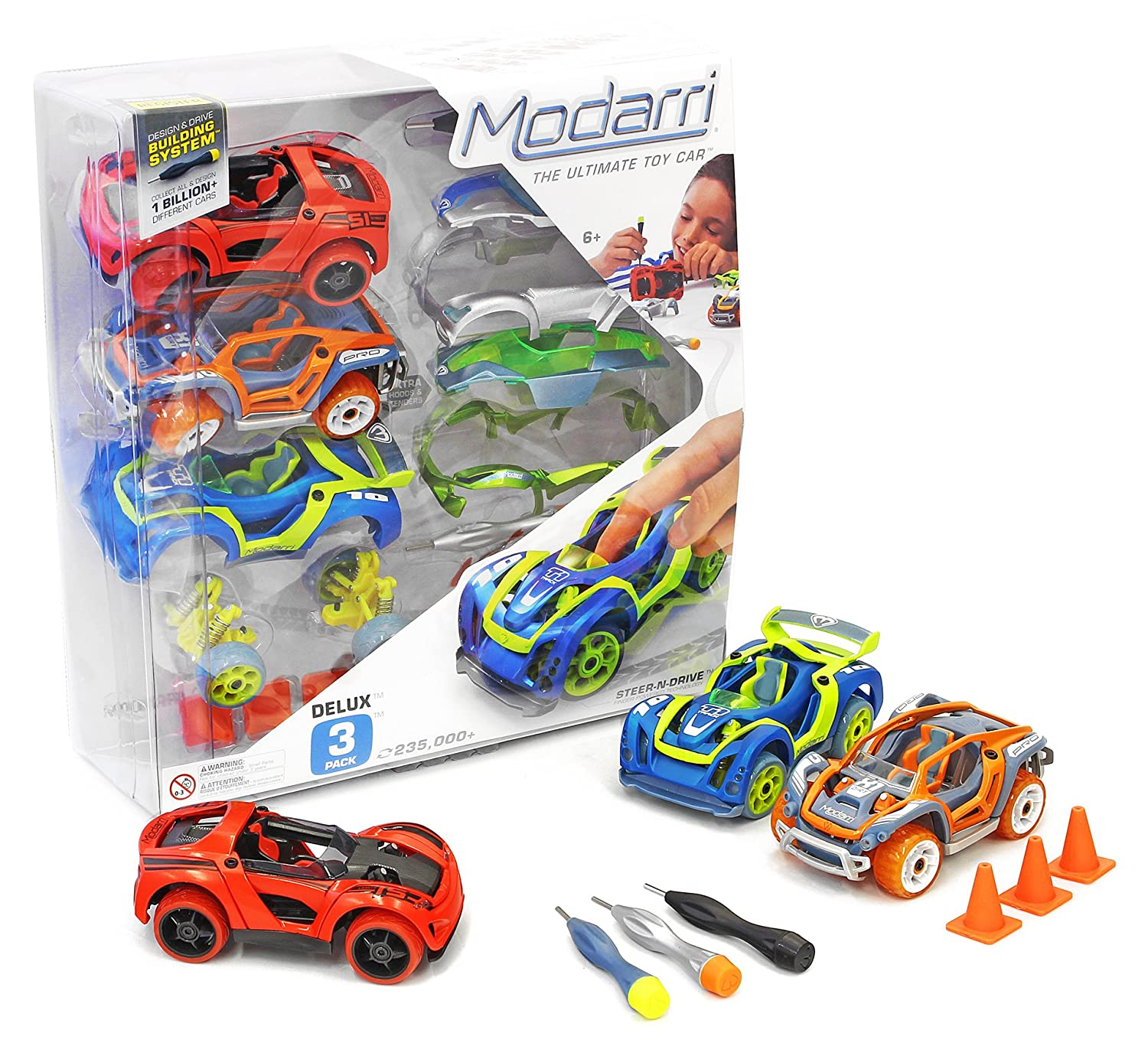 Modarri Deluxe Build Your Car Kit Toy Set (S1, X1, T1), Ultimate Toy Car, Make Your Own Car Toy for Thousands of Designs, Real Steering and Suspension, Educational Take Apart Toy Car for Kids, 3 Piece 1102-01