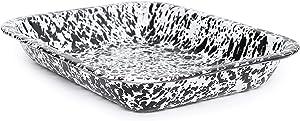 Enamelware Open Roaster, 10.5 x 8 inches, Black/White Splatter (Single)