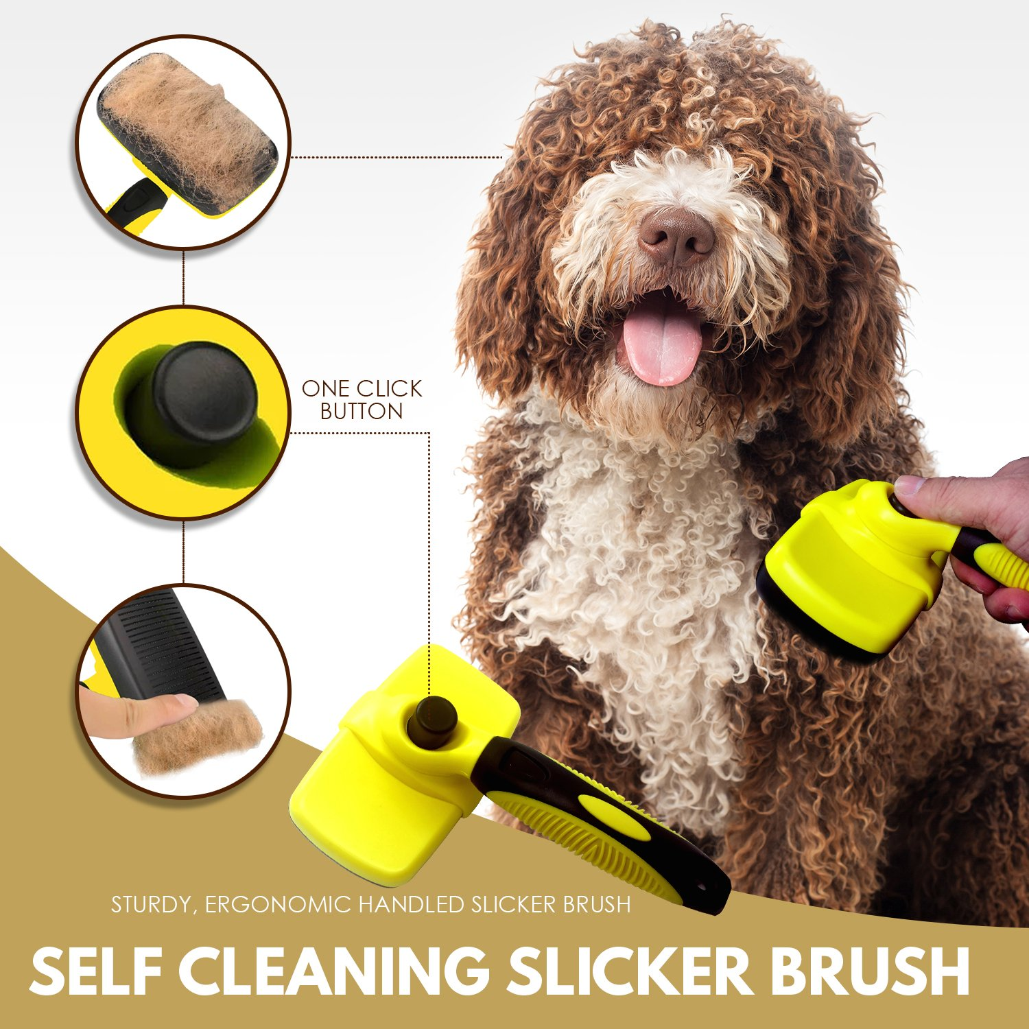 3 in 1 Pet Grooming Set,Self Cleaning Slicker Brush,Pet Comb and 1 Pair Pet grooming Gloves-Right & Left Hands,Anti Shedding Pet Hair Remover for Dogs & Cats,Deshedding Fur,Long & Short Hair,Undercoat by SOUL MUTT VAVA (Image #4)