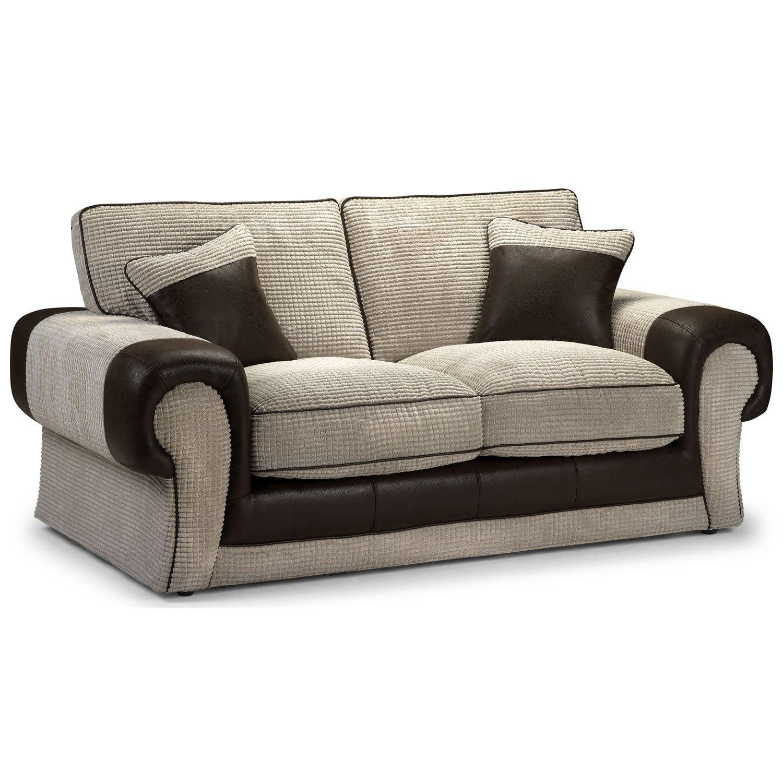 Center One Tangent–2-Sitzer-Sofa–gerollt Arme–Jumbo Cord Mink und Rhino braun