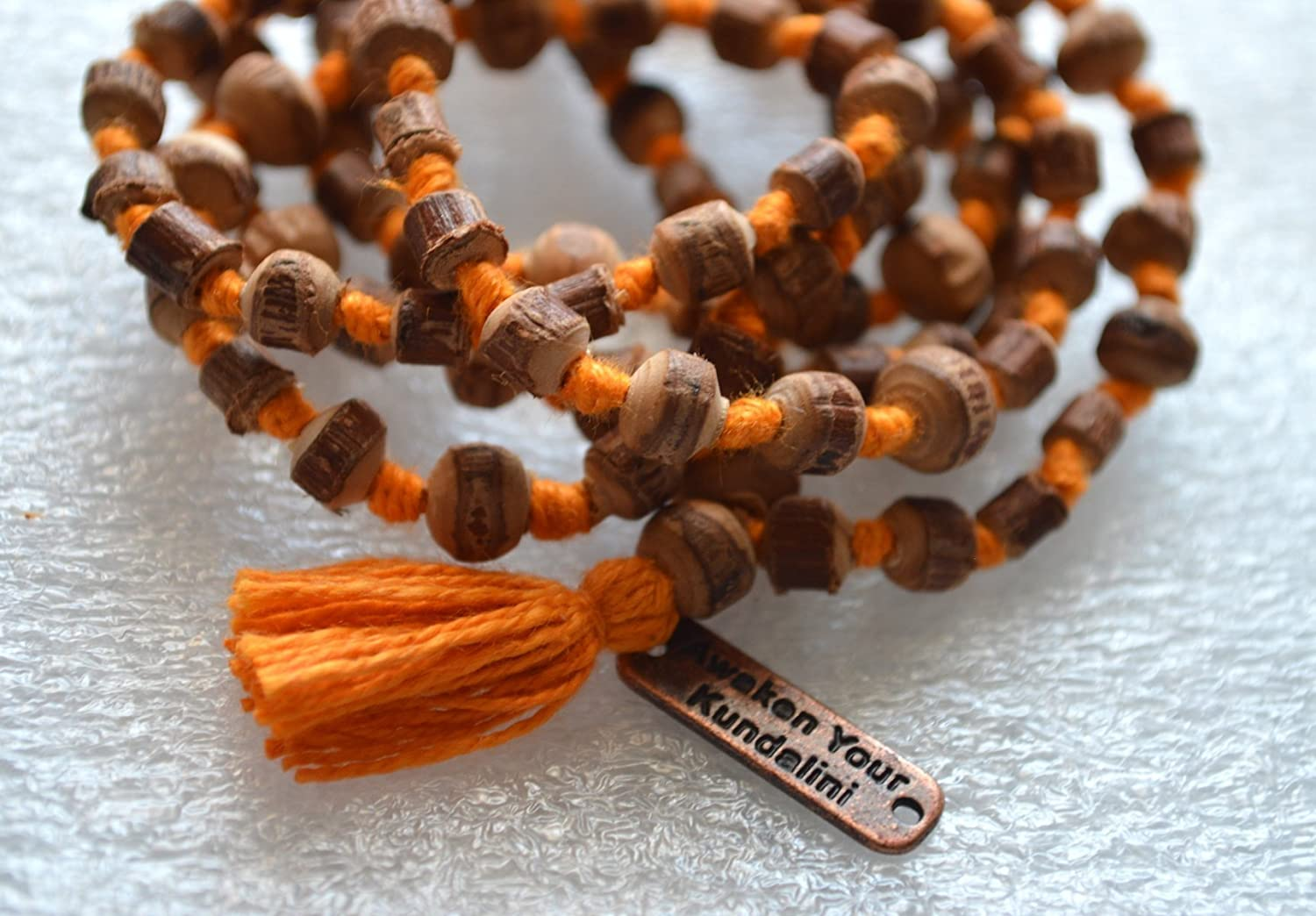 Natural and Raw Tulsi mala beads necklace - purest form - Energized hand knotted Holy Basil 108+1 beads w/Free Velvet Rosary Pouch - Natural RAW CUT ROUGH Prayer beads for chanting mantra - US Seller