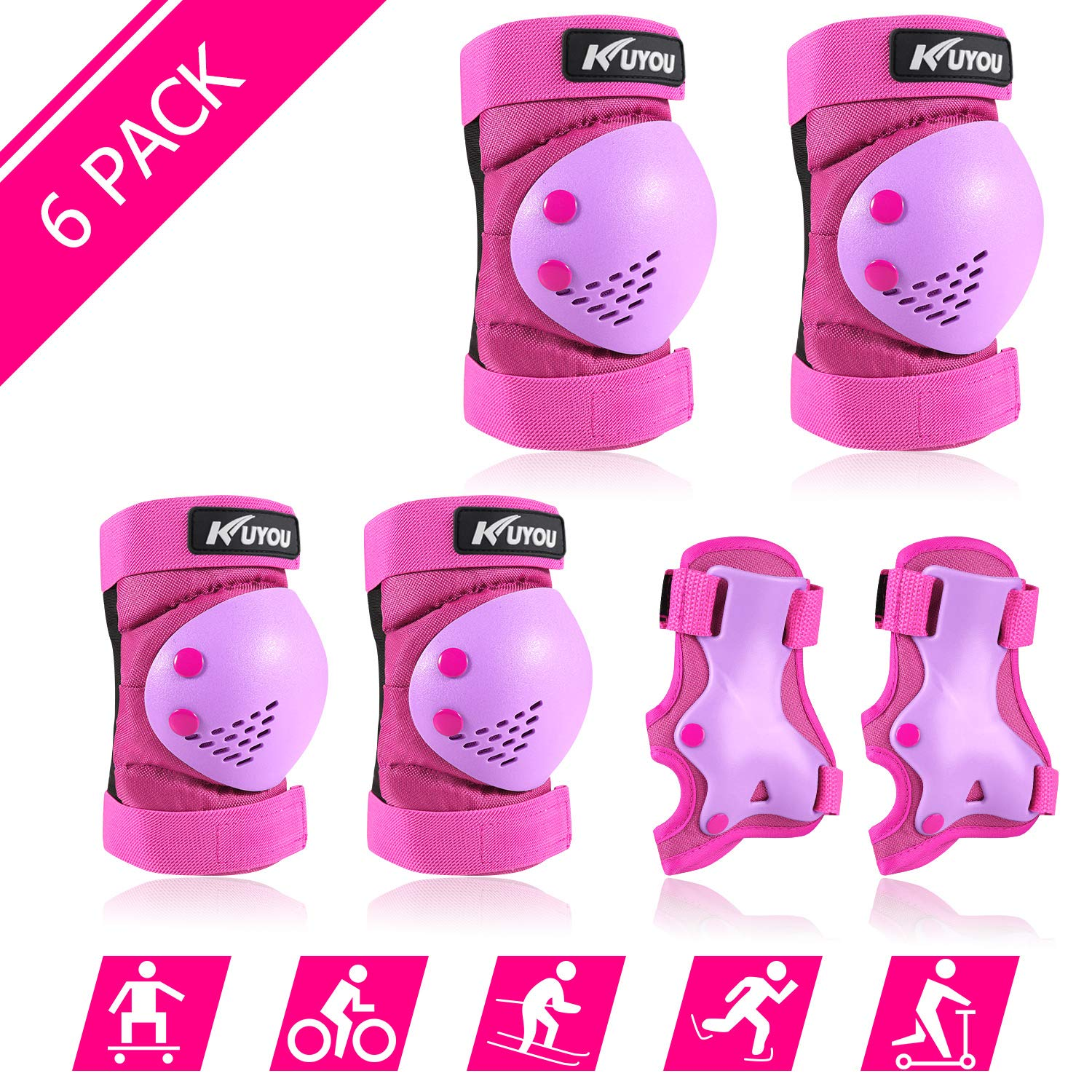 Safety Gear for Kids 3-8 Years Old, Kids Youth Knee Pad Elbow Pads Wrist Guards 3 in 1 Adjustable Protective Gear Set for Roller Skating Cycling Skateboard Bike Scooter Rollerblade