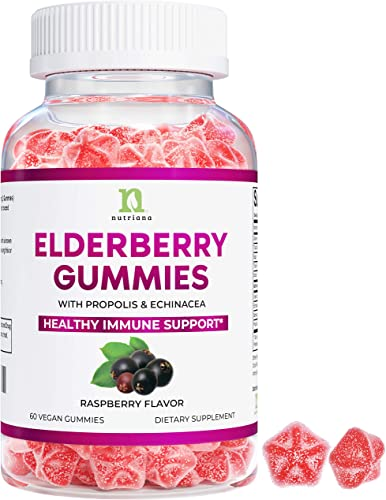 Elderberry Gummies with Vitamin C for Immune Support – Black Elderberry Gummies for Adults Kids, Echinacea, Propolis – Immune System Booster Supplement for Adults – 60 Vegan Gummies