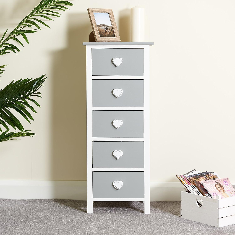 Hartleys Cabinet Blanc /& Gris de 5 Tiroirs
