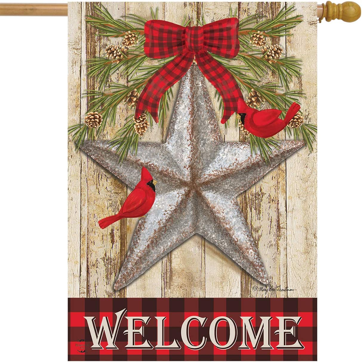 "Briarwood Lane Festive Barnstar Winter House Flag Primitive Welcome Cardinals 28"" x 40"""