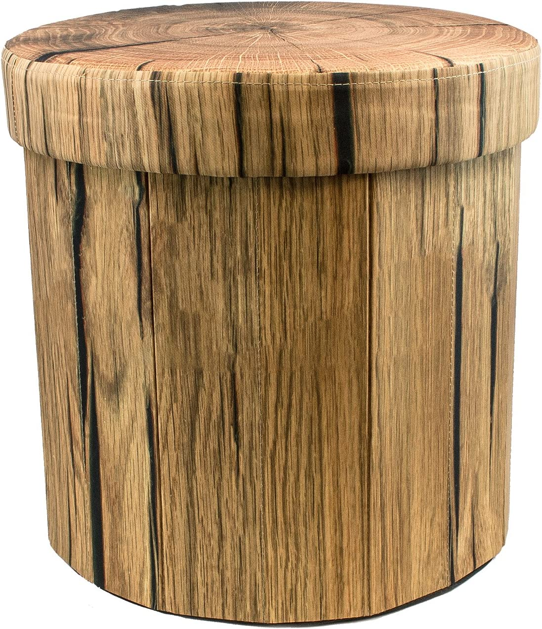 Sorbus Storage Ottoman, 15 Inch Cute 3D Play Room Stool Toy Box Foldable with Lid Perfect Footstool, Pouffe, Hassock, Strong Sturdy Space Saving Chest Tree Stump