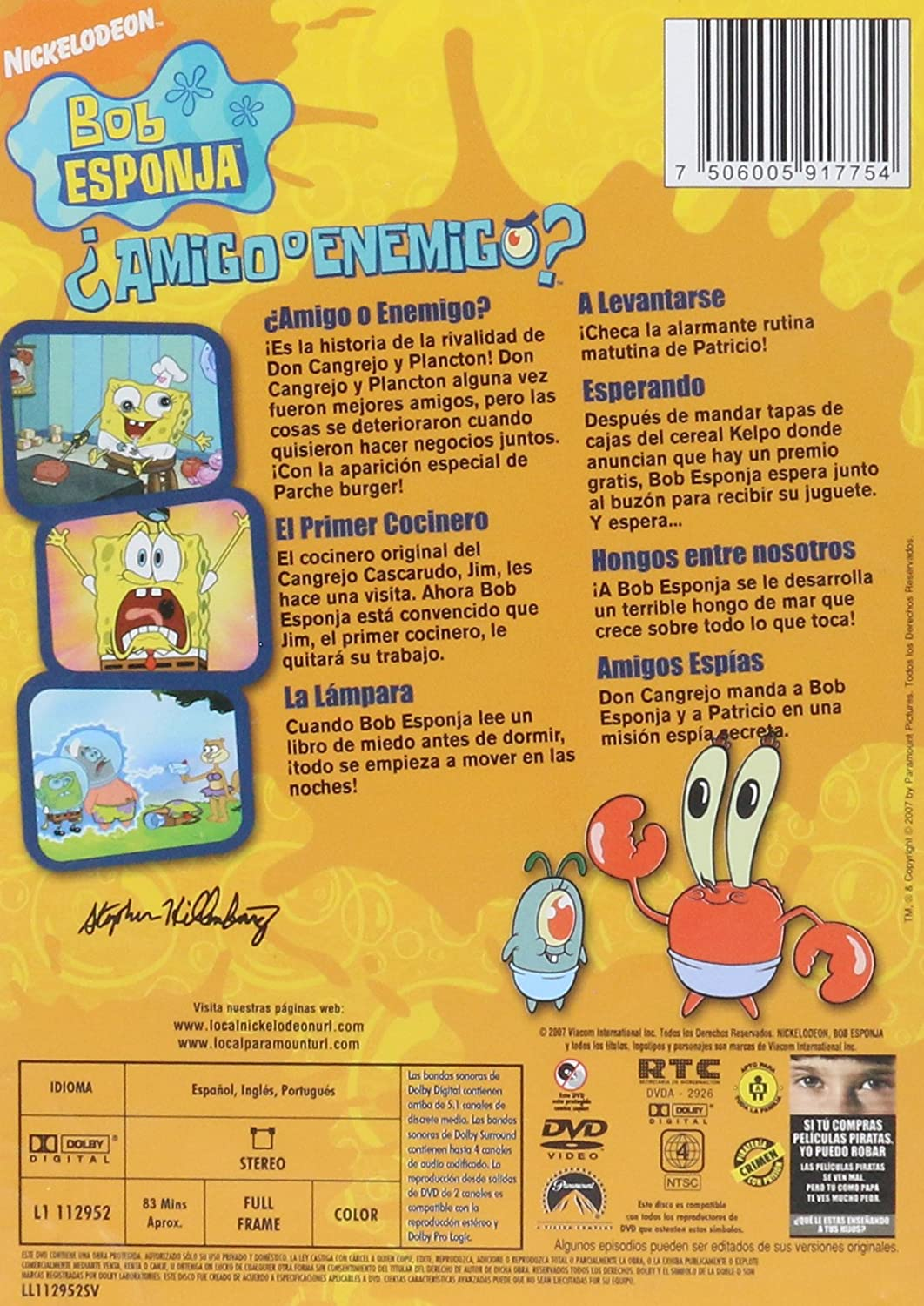 Amazon.com: Bob Esponja: ¿Amigo O Enemigos? and SpongeBob Squarepants Christmas (2 DISCS): Everything Else