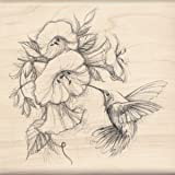 Inkadinkado Mounted Rubber Stamp, 4.5 by 4.5-Inch, Hummingbird with Flowers