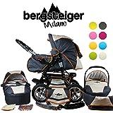 Bergsteiger Milano Kombikinderwagen + Autositz mit Travelsystem (Megaset 10 - teilig