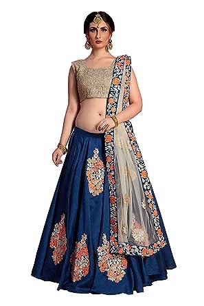 bd4b4880493ef9 MEGHALYA bridal collection Art Silk Lehenga choli for women(Navy blue, free  size)