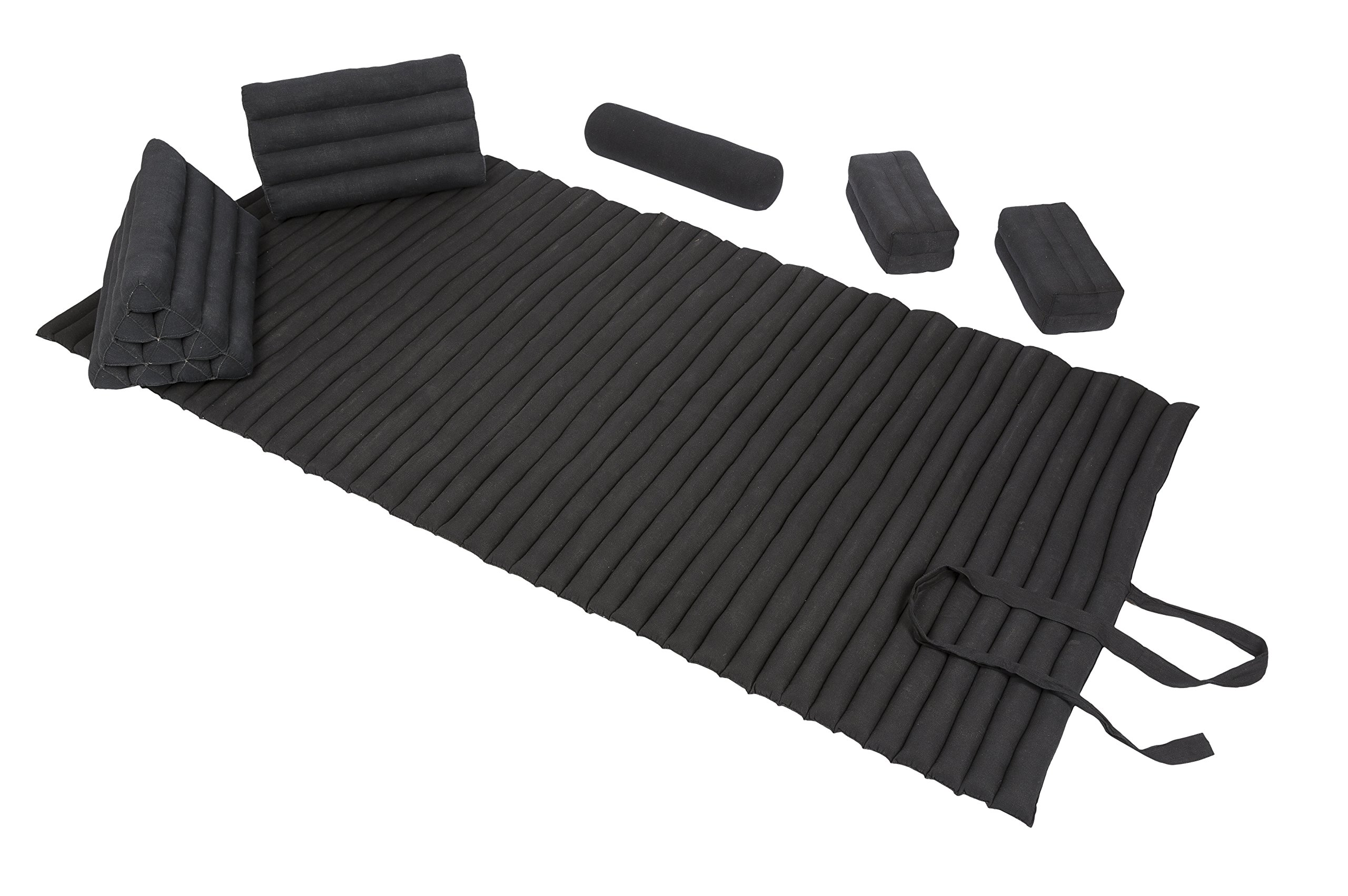 Thai Chill + Massage Set (black): Rollmat + Triangles + Bolster + Pillows by Handelsturm