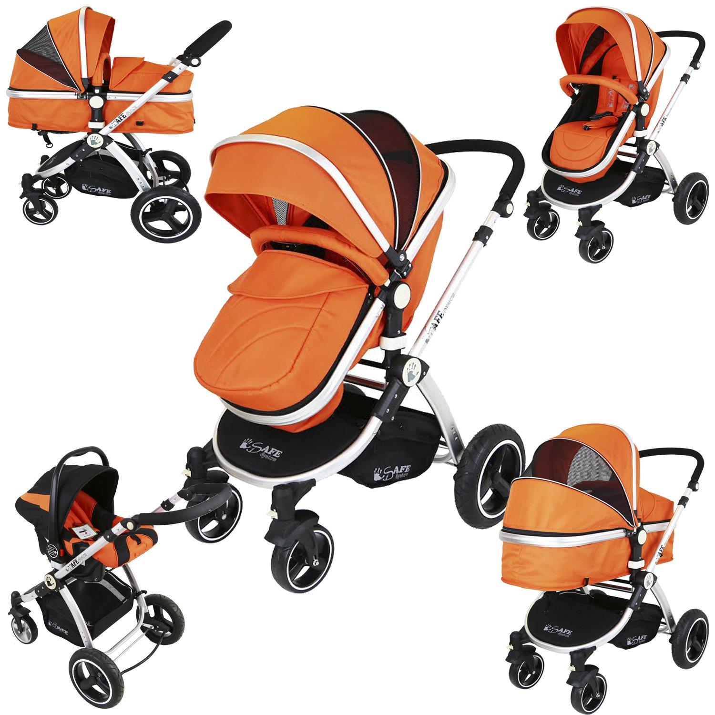 i-Safe System - Orange Trio Travel System Pram & Luxury Stroller 3 in 1 Complete With Car Seat iSafe