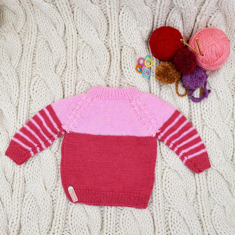 Magic Needles Handmade Knit Baby Girls Infant Newborn Winter Woolen Full Sleeves Sleeveless Sweater Pullover Cardigan