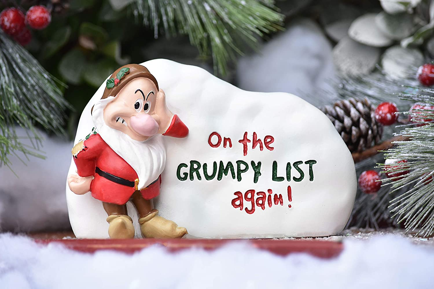 The Galway Company Disney Grumpy of Snow White and the Seven Dwarfs Garden Rock. Outdoor Garden Statue, Classic Disney Collection, 5 Inches Tall x 8 Inches Long, Hand-Painted, Official Disney Licensed