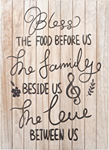 Soyo Hanging Wall Sign Rustic Wooden Wall Sign (Bless The Food Before Us, The Family Beside Us, The Love Between Us) for Home Decor