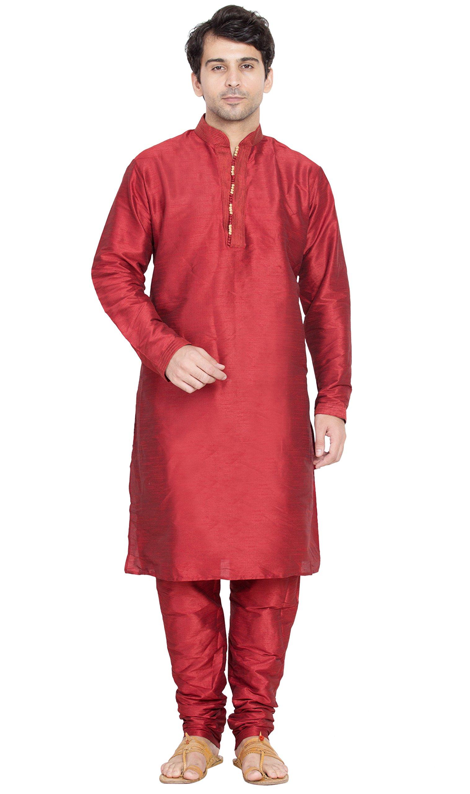 Long Sleeve Shirt Mens Long Kurta Pajama Set India Ethnic Fashion Mens Wear -M