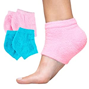 ZenToes Moisturizing Heel Socks 2 Pairs Gel Lined Toeless Spa Socks to Heal and Treat Dry, Cracked Heels While You Sleep (Regular, Fuzzy Blue/Pink)