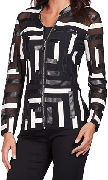 08256fa95935 FRANK LYMAN Womens Geometric Jacket Style 186130U Size Small Black White