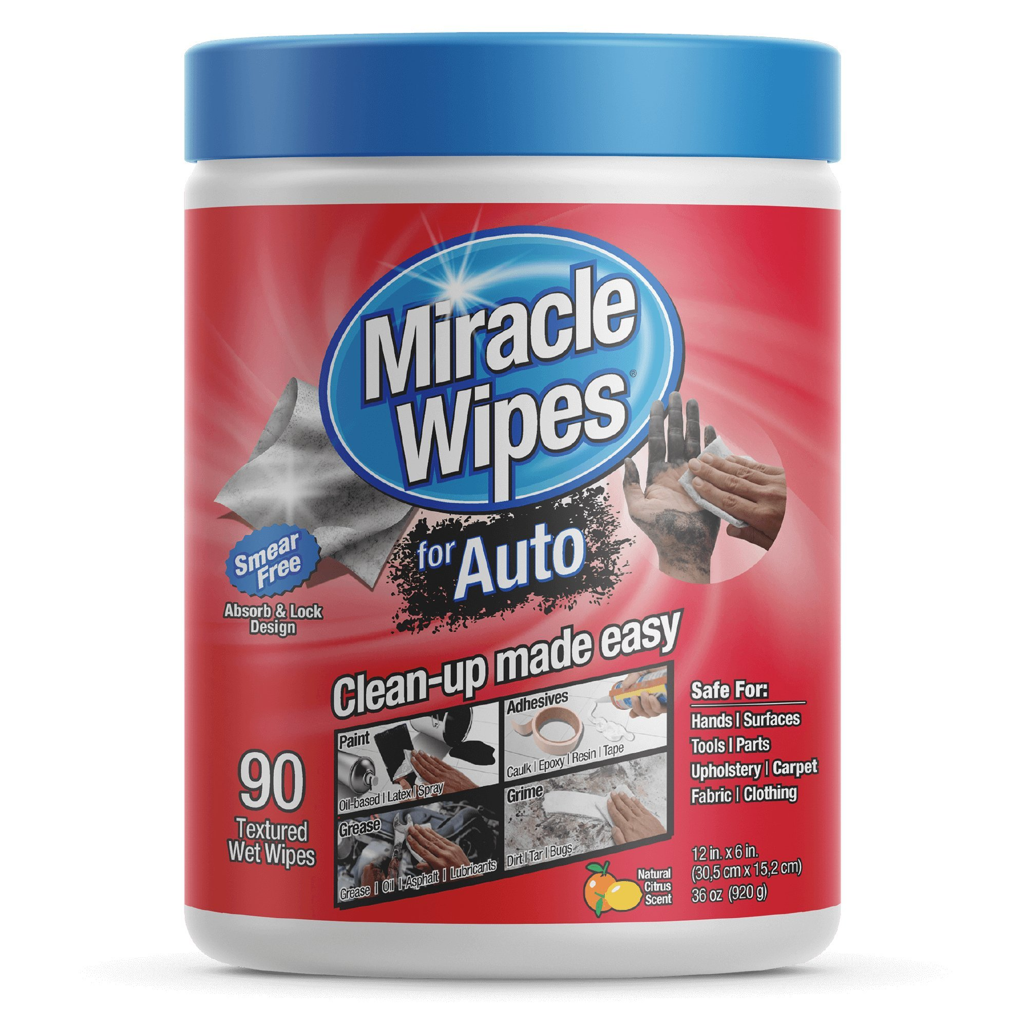 MiracleWipes Car Cleaning Supplies Wipes (90-Count) Multi-Purpose Car Interior Cleaner and Detailing | Removes Grease, Lubricants, Sticky Adhesives, Grime | Made in the USA by MiracleWipes (Image #1)