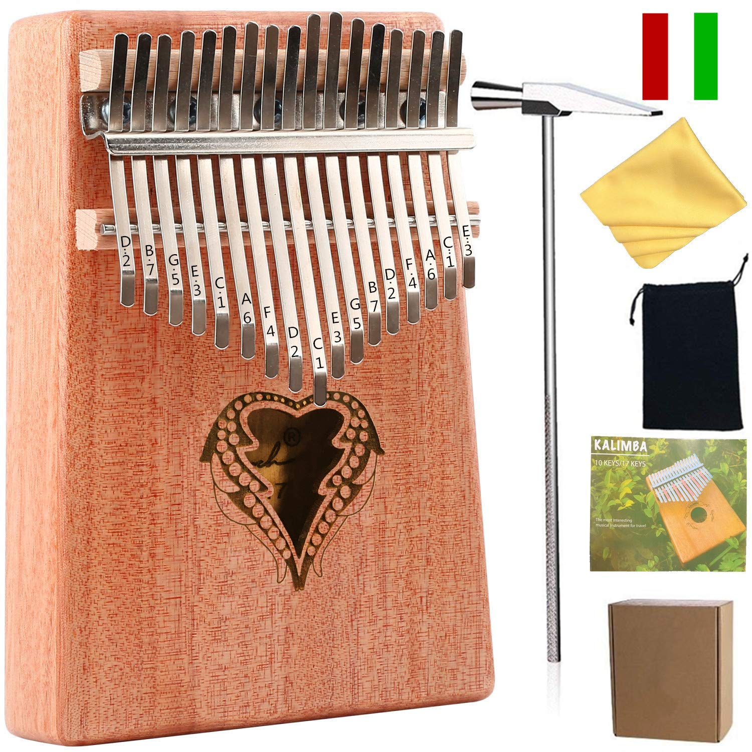 Thumb Piano Ranch Kalimba 17 keys Finger Mbira with Online 6 Free Lessons Solid Wood Mahogany Christmas Gifts with Bag/Carved Notation/Tune Hammer - Love Heart