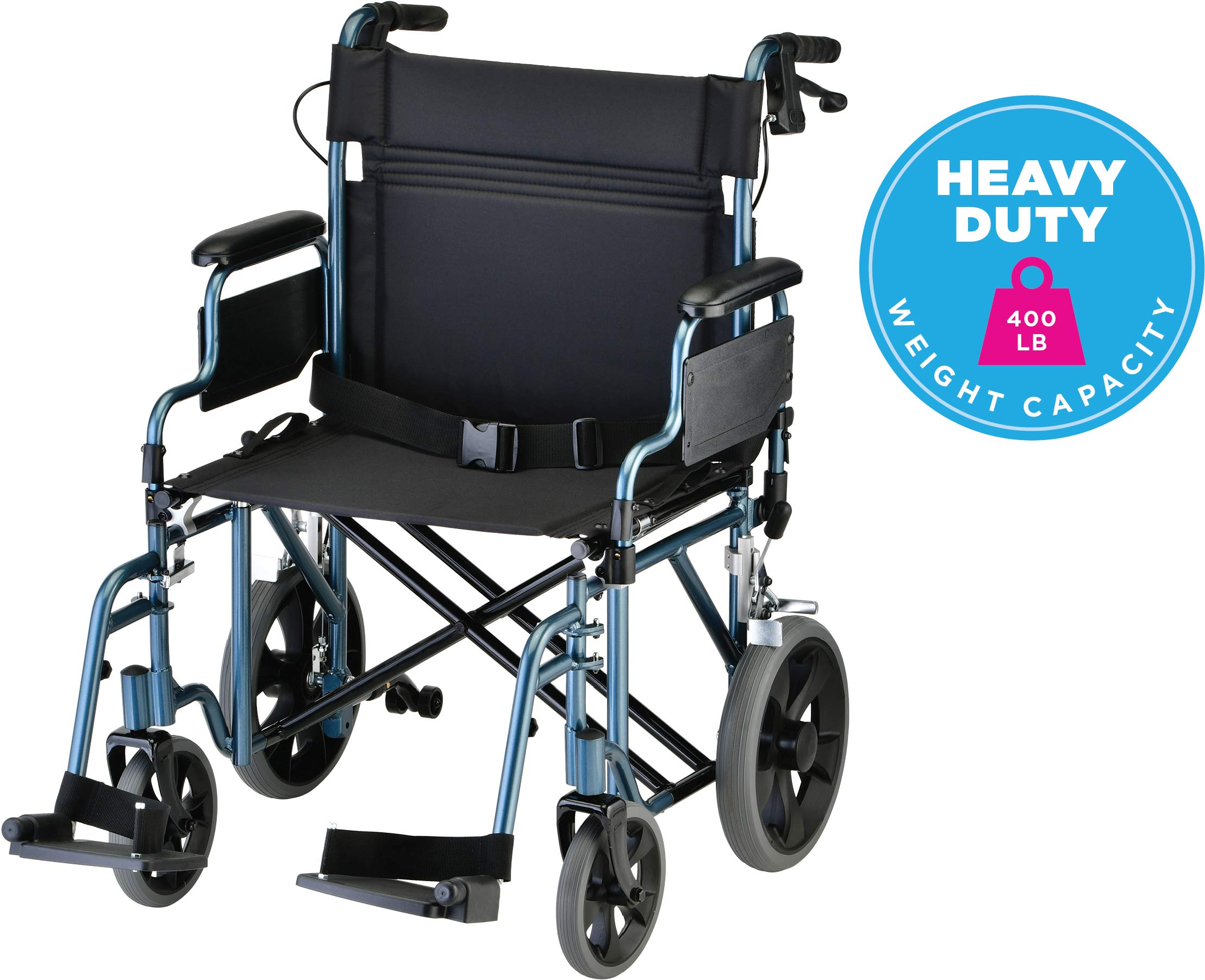 NOVA Bariatric Transport Chair with Locking Hand Brakes, Heavy Duty and Extra Wide Wheelchair with Removable & Flip Up Arms for Easy Transfer, Anti-Tippers Included, 400 lb. Weight Capacity, Blue by NOVA Medical Products