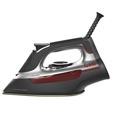 CHI Steam Iron With Titanium Infused Ceramic Soleplate & Over 300 Steam Holes, 1700 Watts, Professional Grade, Silver (13101)