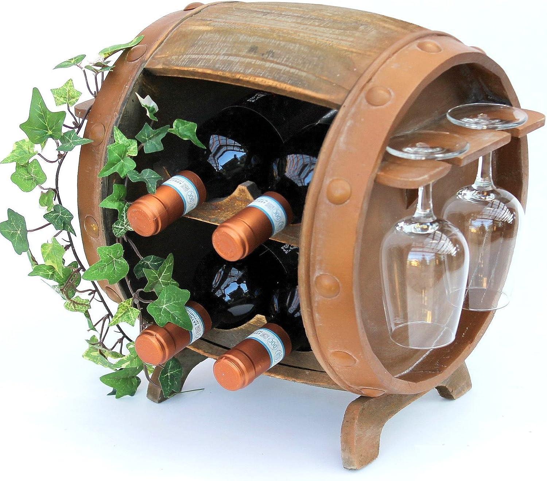 Weinregal Holz Braun 360° Drehbar Weinfass 71 cm 9205-R Bar Flaschenregal Fass