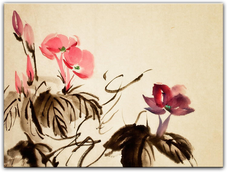 Bilderdepot24 Cuadros en Lienzo Acuarela Lámina Reproducción Flor China III 40 x 30 cm - Listo tensa, Directamente Desde el Fabricante: Amazon.es: Hogar