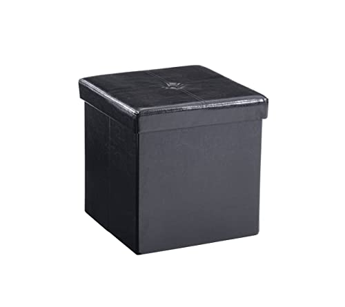 Hodedah Small Collapsible Ottoman, Black