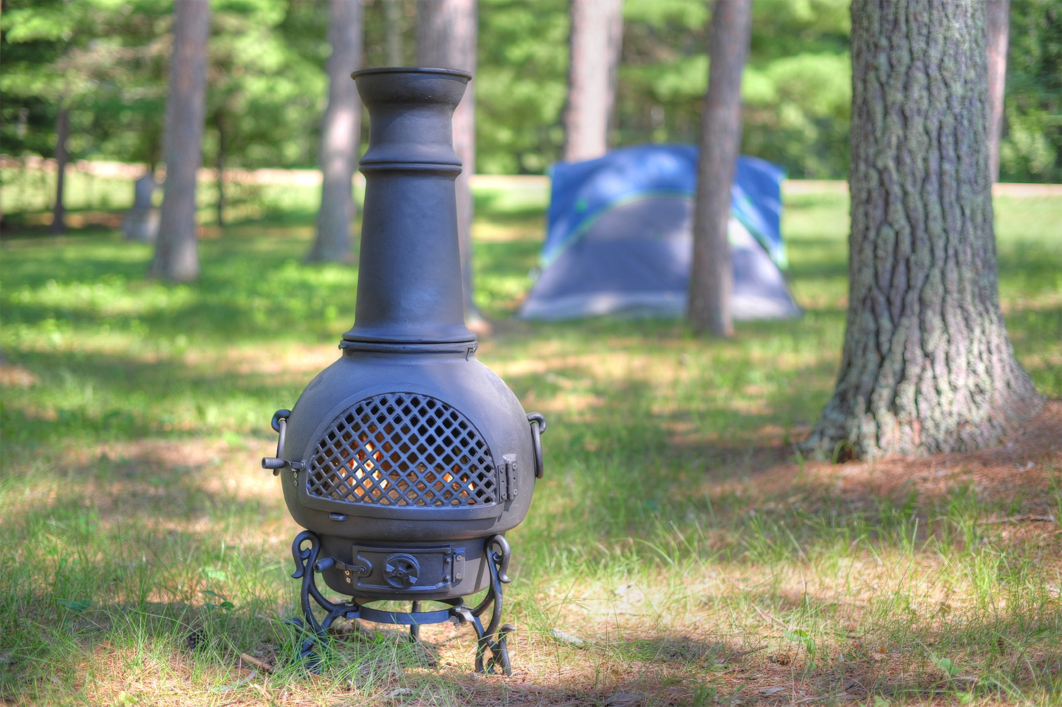 The Blue Rooster Co. Gatsby Style Cast Aluminum Wood Burning Chiminea in Charcoal.
