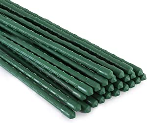 Xiny Tool Garden Stakes, 25 Pack 48 Inches Steel Plant Stakes with Plastic Coat for Climbing Plants
