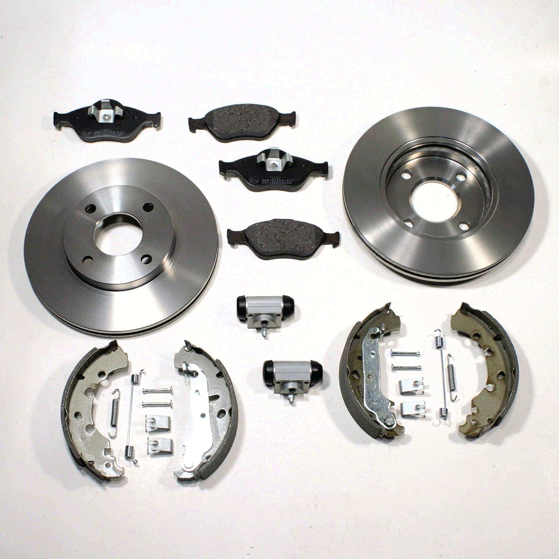 Bremsbacken Zubeh/örsatz f/ür hinten Bremsbel/äge vorne Bremsscheiben bel/üftet 2 x Radbremszylinder