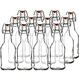 Easy Cap Beer Bottles and Kombucha Bottles - 16 oz. - Clear 12 pack - EZ Cap -- Original Cherry Blossom Hardware Bottles (12, Clear)