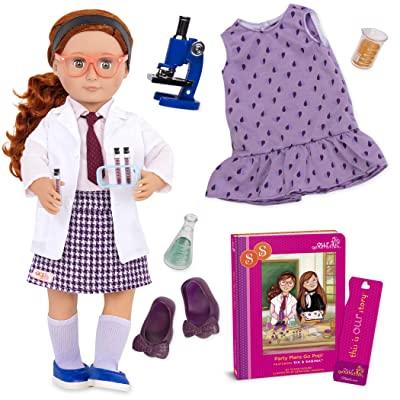 "Our Generation Doll by Battat- Sia 18"" Deluxe Posable Twin Science Fashion Doll with Book & Accessories- for Age 3 Years & Up: Toys & Games"