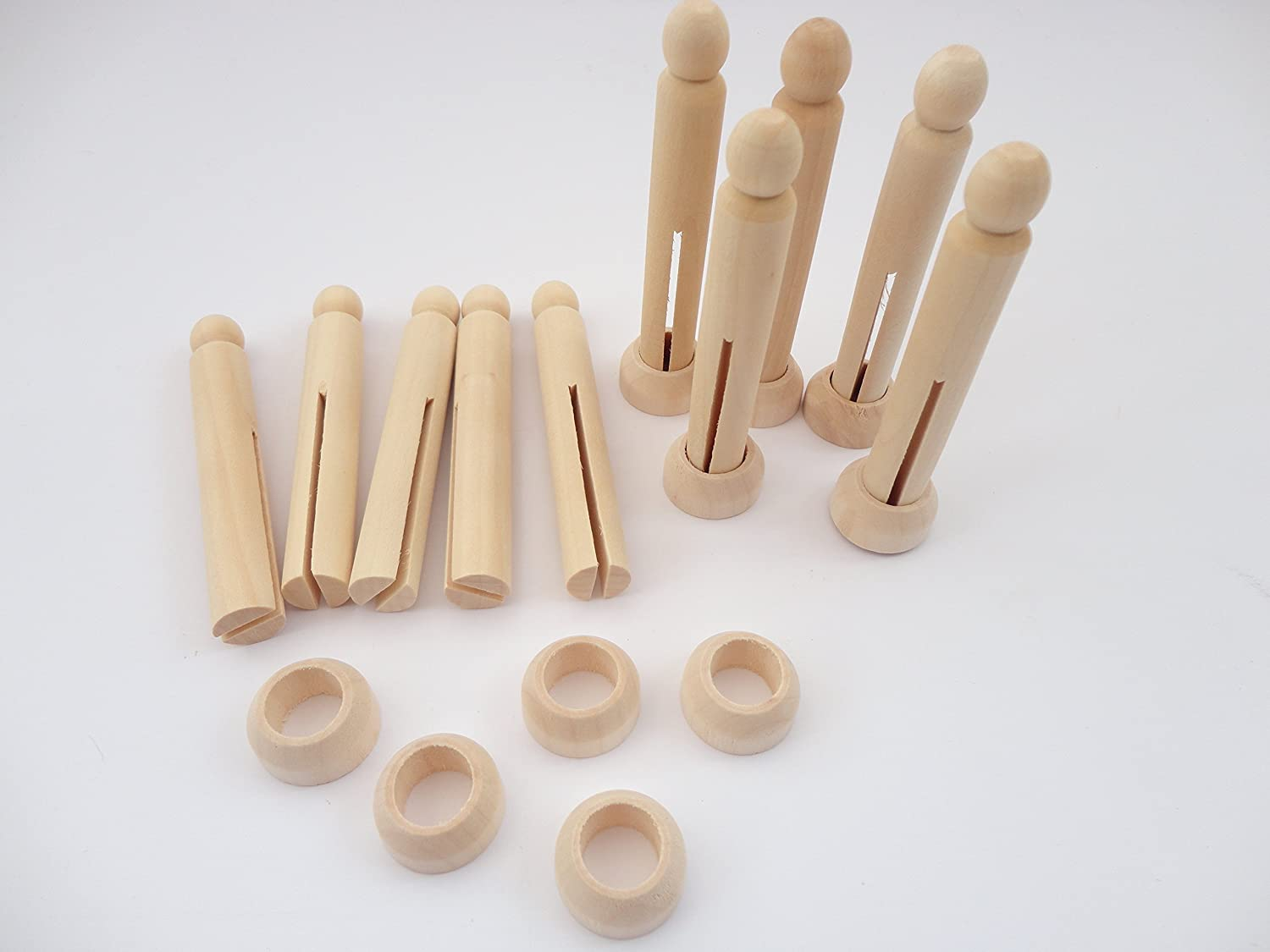 1,10,20,30,50 Natural Wooden Wood Dolly Pegs With Stands 95mm Craft Models - Pack Size: 5 a2bsales