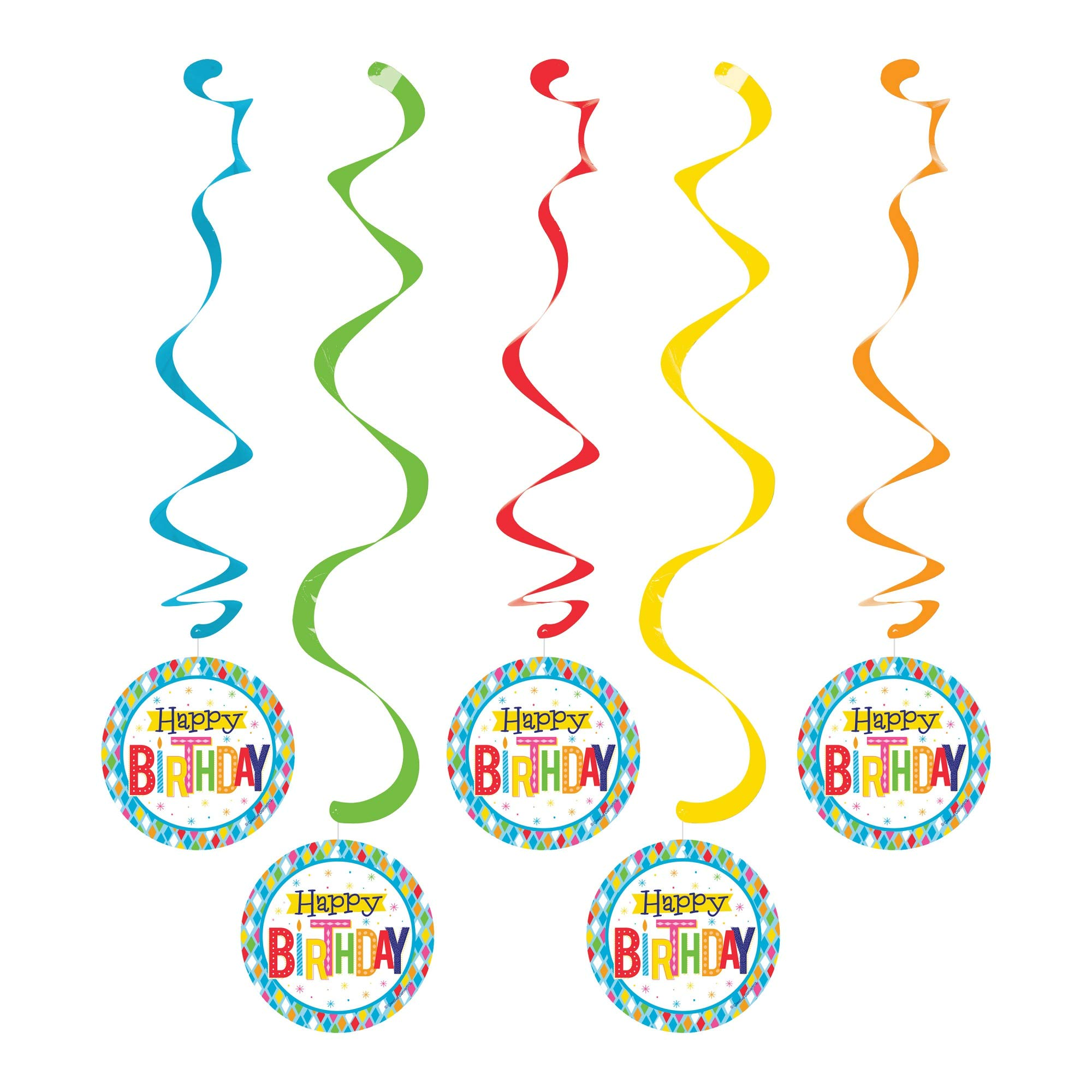 Party Central Club Pack of 30 Vibrantly Colored Birthday Themed Dizzy Danglers 39''