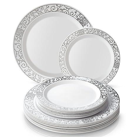 Party Disposable 40pc Dinnerware Set | 20 Dinner Plates | 20 Salad/Dessert Plates |  sc 1 st  Amazon.com & Amazon.com | Party Disposable 40pc Dinnerware Set | 20 Dinner Plates ...