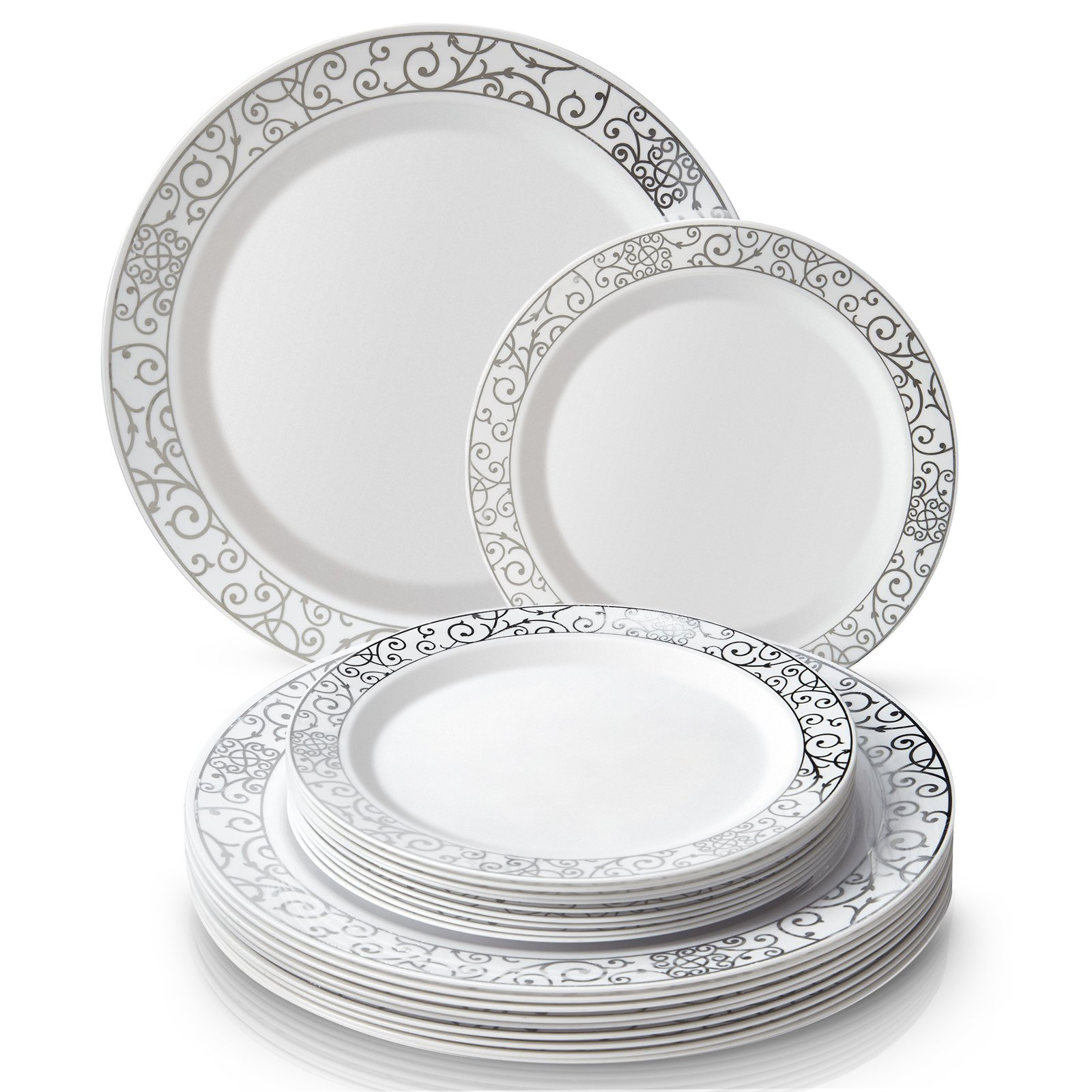 PARTY DISPOSABLE 40 PC DINNERWARE SET | 20 Dinner Plates | 20 Salad/Dessert plates | Heavy Duty Plastic Dishes | Elegant Fine China Look | Upscale Wedding and Dining (Venetian Collection-White/Silver)