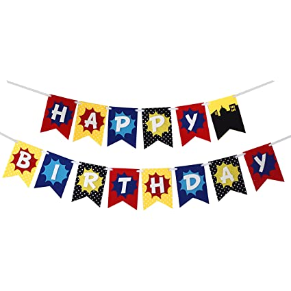 Super Hero Premium Layered Felt Happy Birthday Banner Bunting Laser Cut Felt 60 Inches Wide