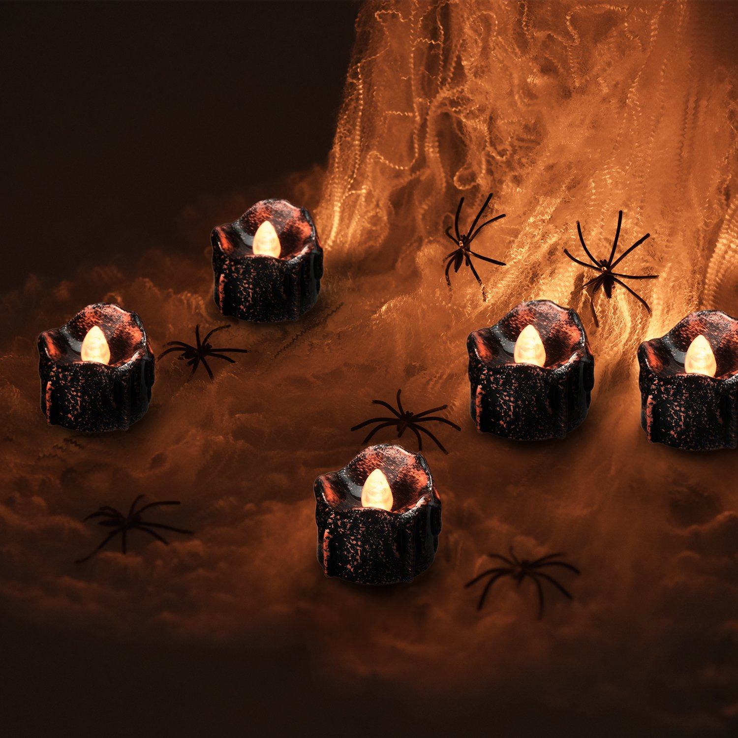 eLander Halloween Decorations Candles Tea Lights, Battery Operated, Flickering Flameless [12 Pack – Amber Yellow]