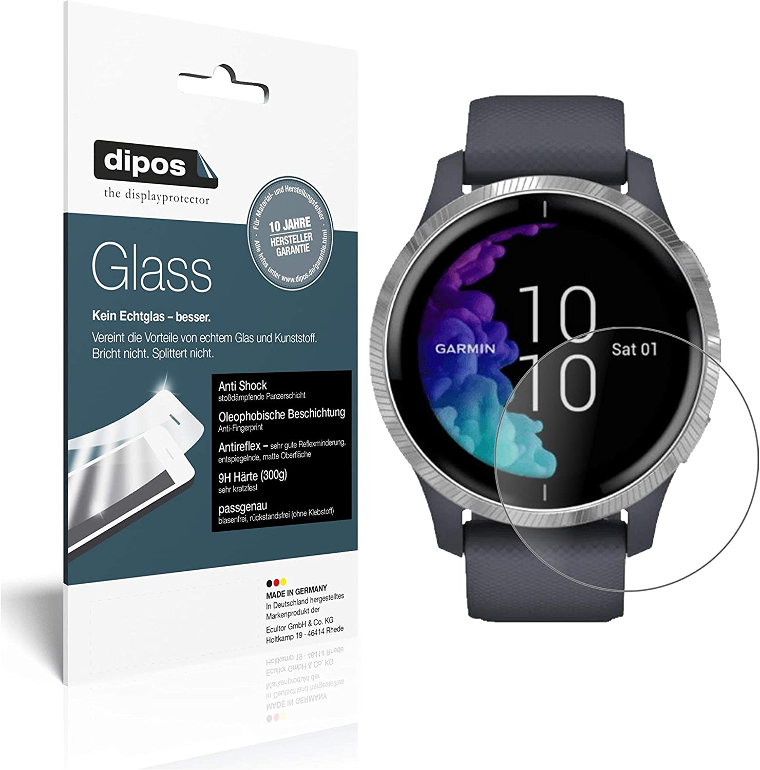 anti-reflective and flexible FX Screen Protector 3X atFoliX Shock Absorption Protection Film compatible with Garmin Venu Anti Shock Screen Protector