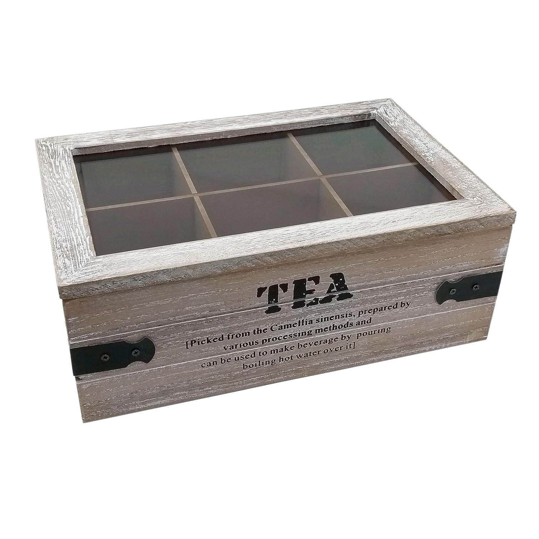 'ToCi Boîte à thé Tea–Boîte à thé en deux versions–Boîte à thé avec 6et 9compartiments–Boîte à thé en bois avec couvercle au look vintage Teekiste mit 6 Fächern