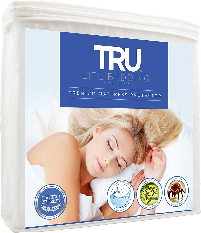 TRU Lite Bedding Waterproof Mattress Protector - Hypoallergenic Mattress Cover