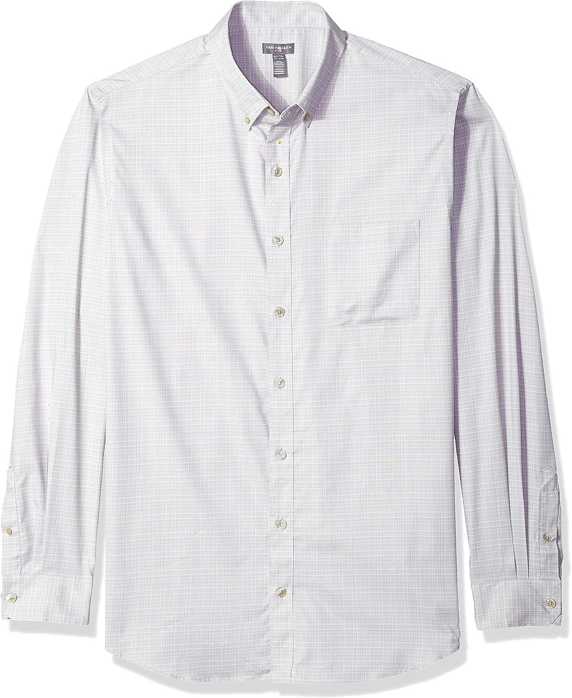 Van Heusen Mens Big and Tall Flex Long Sleeve Button Down Stretch Solid Shirt Button Down Shirt