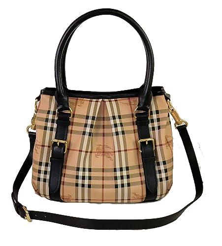 83b3cfdf6d484 Burberry Haymarket Northfield Tote Bag (braun)  Amazon.de  Schuhe    Handtaschen
