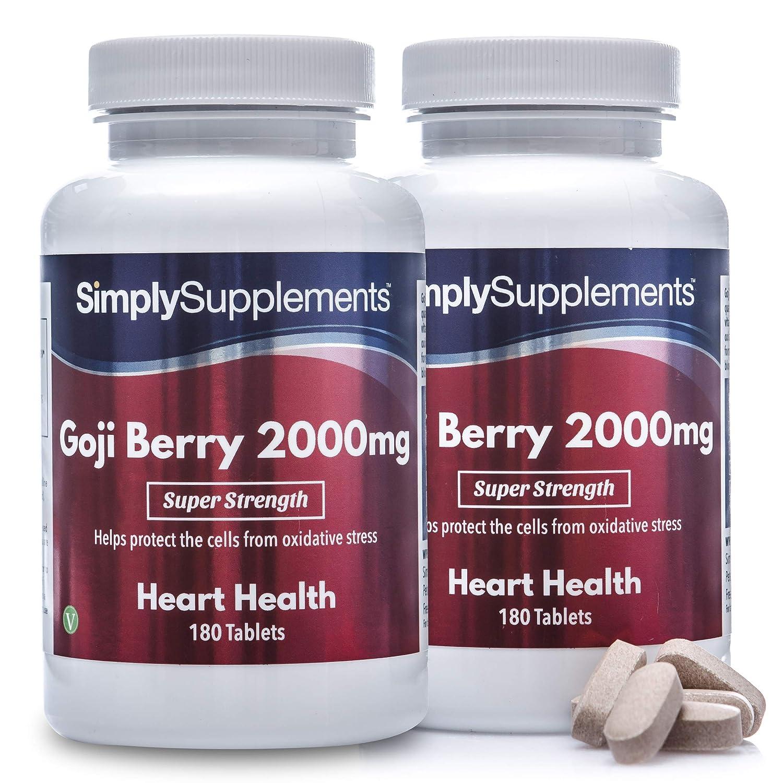 Bayas de Goji - ¡Bote para 1 año! - Apto para veganos - 360 Comprimidos - SimplySupplements