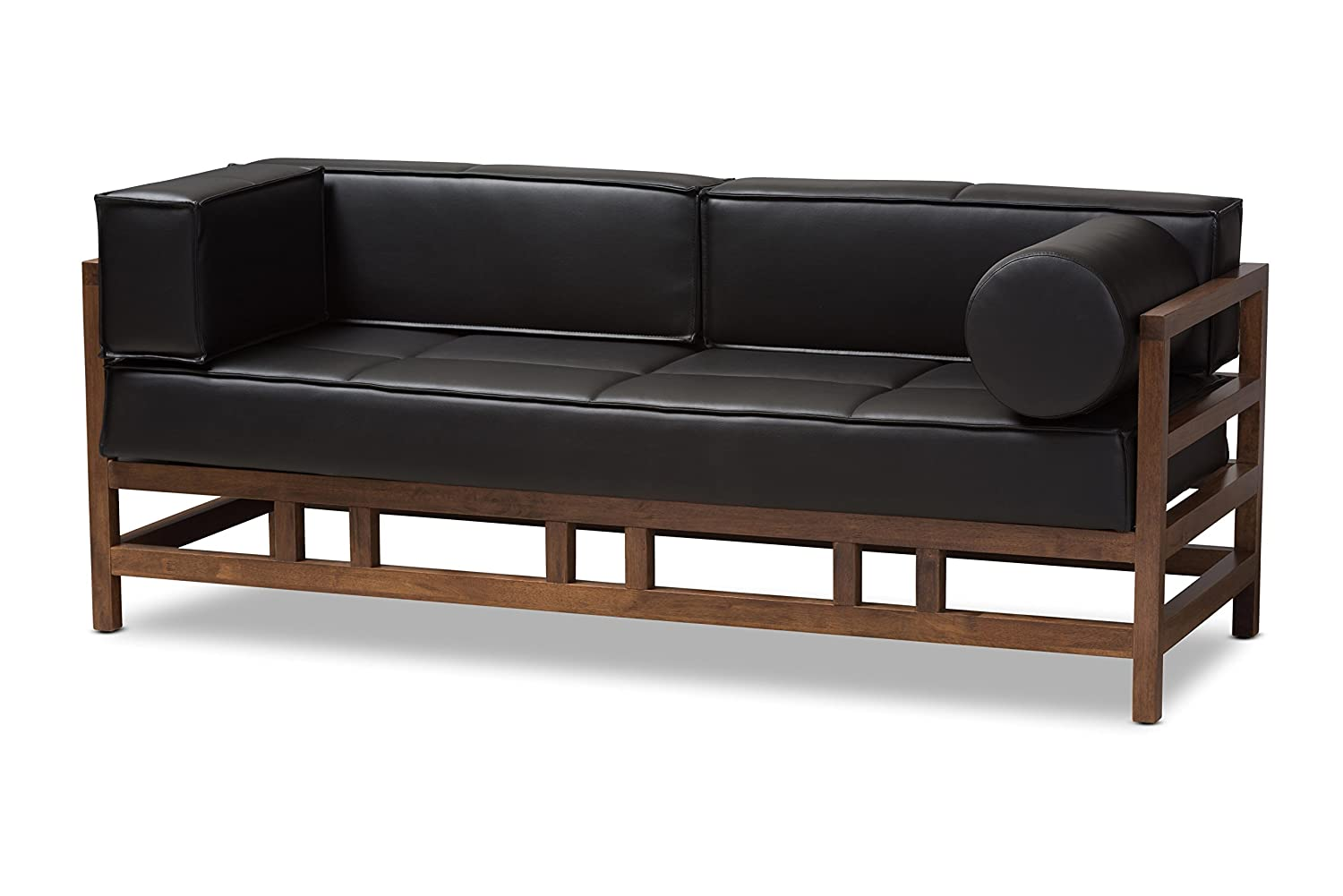 Baxton Studio Gavina Mid-Century Modern Pine Black Faux Leather Walnut Wood  2-Seater Sofa